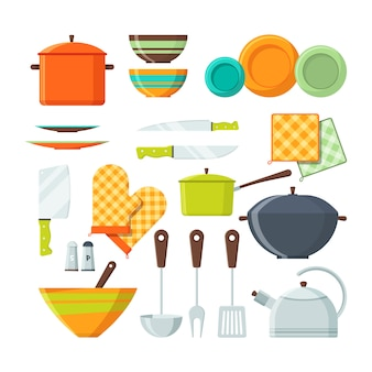 Bowl, fork and other kitchen tools in cartoon style