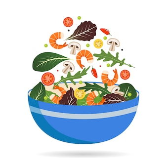 Bowl of fresh mix of salad leaves, vegetables and shrimp. arugula, tomatoes, paprika, peppers and mushrooms.