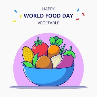 新鮮な野菜の漫画イラスト世界食料デーのお祝いでいっぱいのボウル。