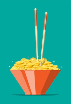 Чаша, полная золотых монет и палочек для еды. деньги, концепция сбережений, пожертвование, оплата. богатство.