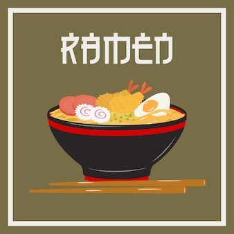 A bowl of japanese noodle ramen with japanese styled font