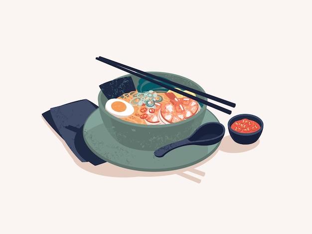 Bowl of japanese ramen noodles with shrimps