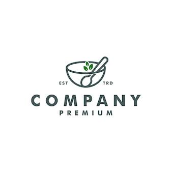 그릇 잎 숟가락 로고 디자인 벡터 아이콘 로고