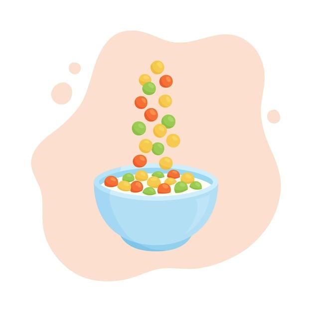 Bowl milk cereal. cartoon oats.