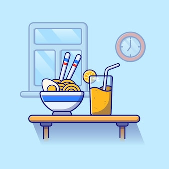 A bowl of noodles and boiled egg and orange juice.
