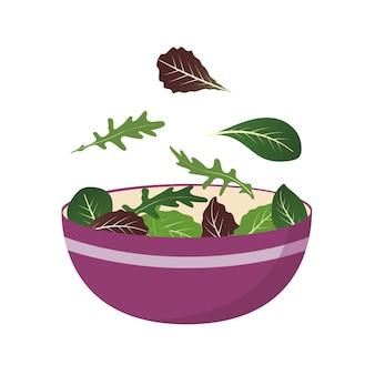 サラダの葉の新鮮なミックスのボウル。ルッコラ、ほうれん草、レタスの葉。ベクトルイラストをスタイルに設定。