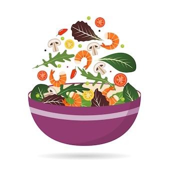 サラダの葉、野菜、エビの新鮮なミックスのボウル。ルッコラ、トマト、パプリカ、ピーマン、キノコ。