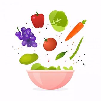 新鮮な野菜サラダ、健康食品のボウル。スタイルのモダンなイラストのコンセプトです。