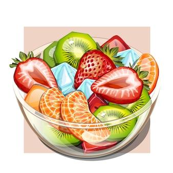 건강에 좋은 신선한 과일 샐러드 그릇