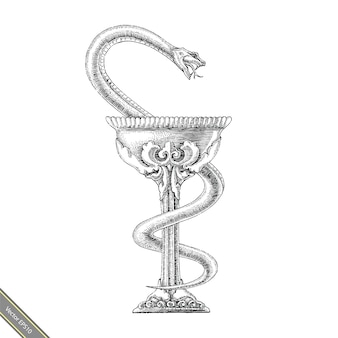 Чаша hygeia рука рисунок винтажном стиле. символ фармации черно-белая линия