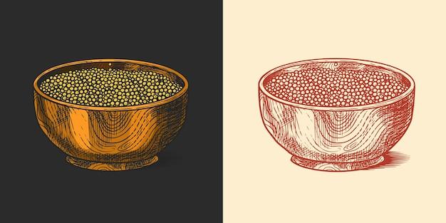 Чаша с семенами горчицы или острой приправой или соусом для макания