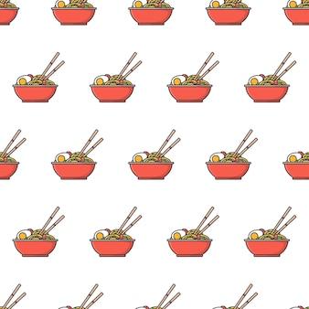 ラーメン丼シームレスパターン。オリエンタルヌードルフードテーマイラスト
