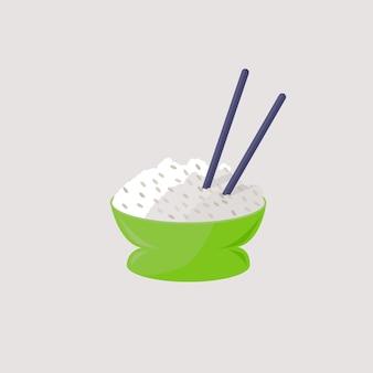 Чаша с рисом с палочками для еды, изолированных векторная иллюстрация здоровое питание