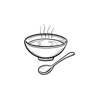 숟가락 손으로 그린 개요 낙서 아이콘이 있는 수프 그릇. 흰색 배경에 격리된 인쇄, 웹, 모바일 및 인포그래픽을 위한 그릇 벡터 스케치 그림에 있는 뜨거운 수프.