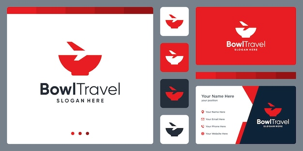 Bowl and plane logo design inspiration. business card template design.