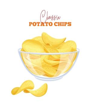Bowl of potato chips illustration
