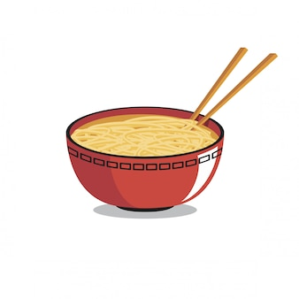 Bowl of ramen vector