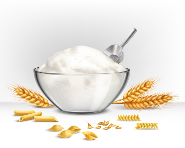 Bowl of wheat flour illustration