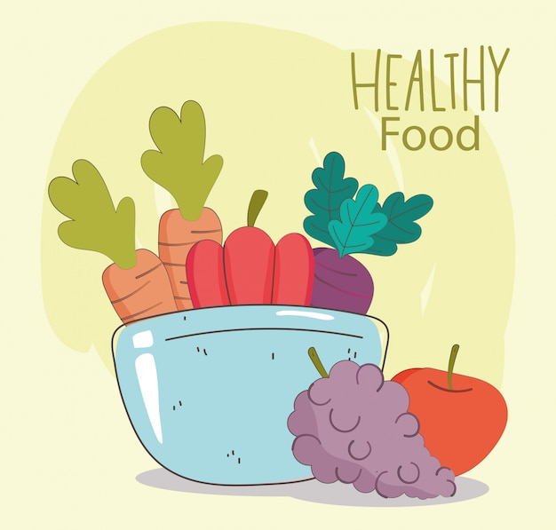 Чаша с морковью, перцем, виноградом и яблоком, свежие органические здоровые продукты с фруктами и овощами иллюстрации