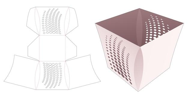 곡선 측면 및 스텐실 하프 톤 도트 다이 컷 템플릿이있는 그릇