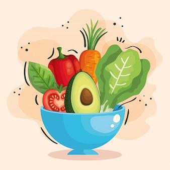 신선하고 건강한 야채와 그릇