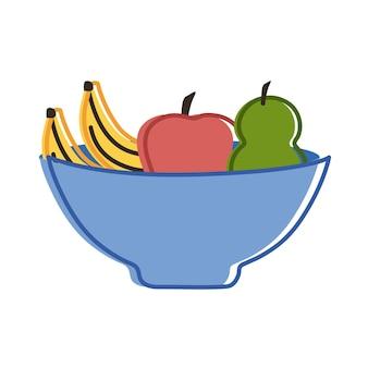 果物の新鮮なアイコンとボウル