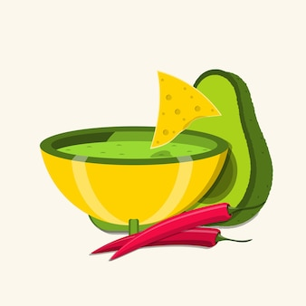 Bowl with guacamole dip and red chili peppers illustration