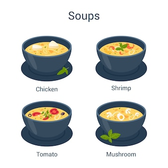 Bowl with hot tasty soup set. collection of soup and ingredients. tomato and potato, onion and carrot.