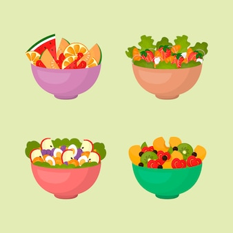 Bowl with salad and fruit
