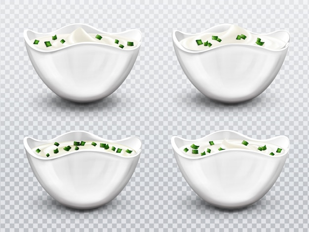 Bowl with sauce, cream, mayonnaise or yogurt set