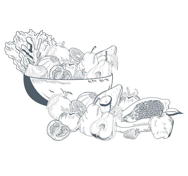 野菜と果物の手のドローボール