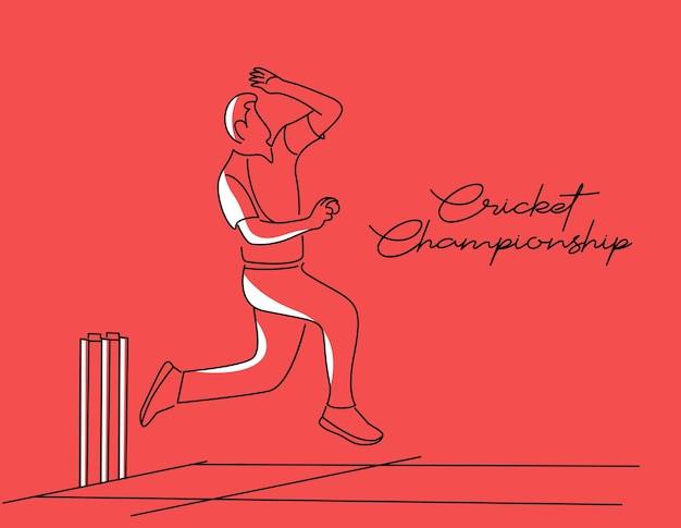 Bowler bowling in cricket championship sports line art vector design