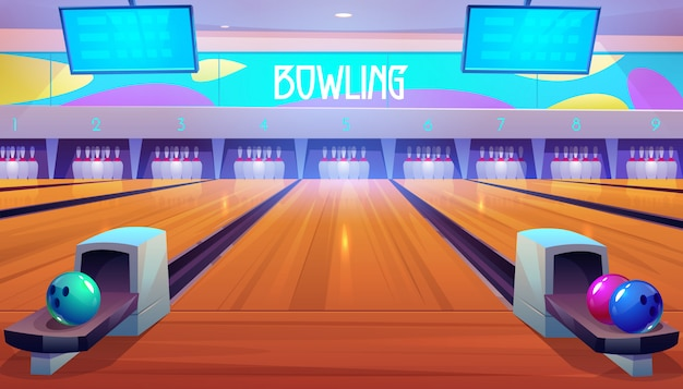Bowling alleys with balls, pins and scoreboards.