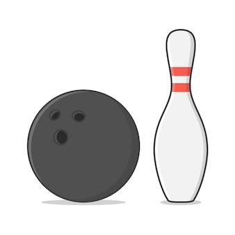 Шар для боулинга и кегли. боулинг game flat