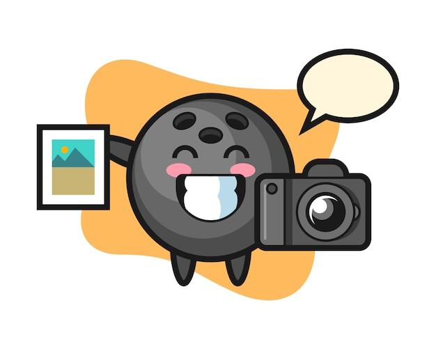 写真家としてのボウリングボールの漫画