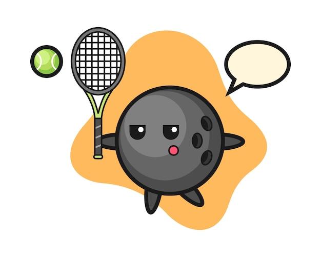 Bowling ball cartoon as a tennis player