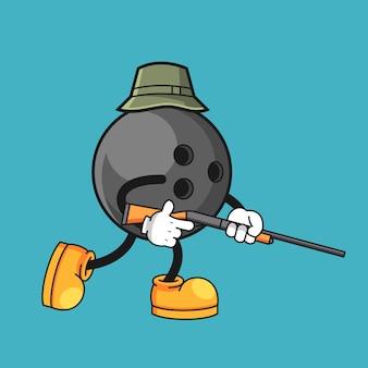 Bowling ball cartoon character is hunting