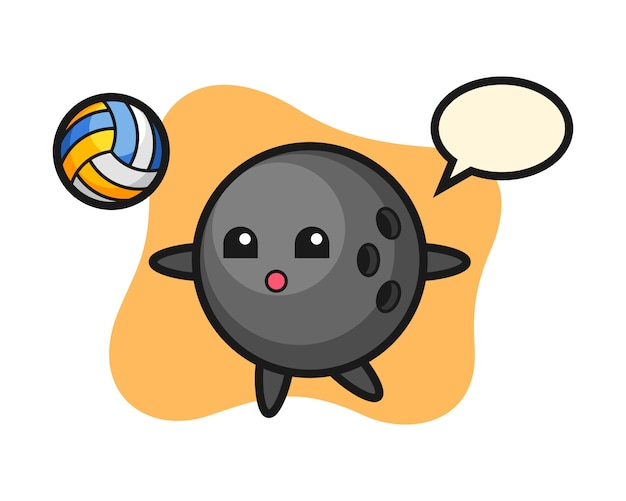Bowling ball cartoon is playing volleyball