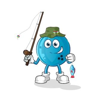 Иллюстрация рыбака шар для боулинга. персонаж