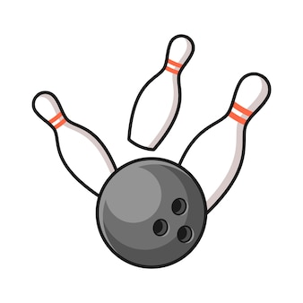 Bowling ball hitting the pins illustration