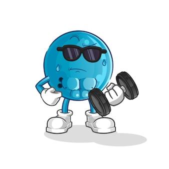 Подъем гантелей на шар для боулинга. мультипликационный персонаж