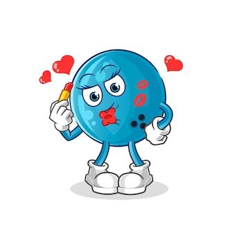 Bowling ball make up mascot. cartoon