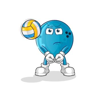 Шар для боулинга играет талисман волейбола. мультфильм