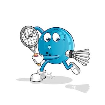 Шар для боулинга играет в бадминтон иллюстрации. персонаж