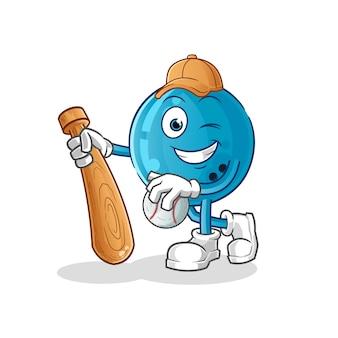 Bowling ball playing baseball mascot. cartoon