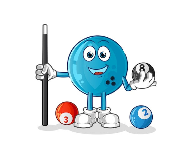 Bowling ball plays billiard character. cartoon mascot
