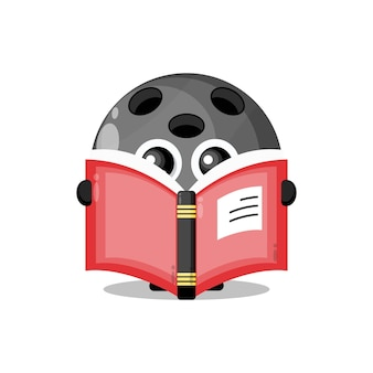 Bowling ball reading a book cute character mascot
