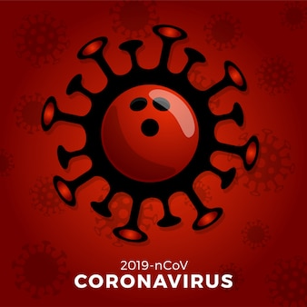 Bowling ball   sign caution coronavirus. stop covid-19 outbreak. coronavirus danger and public health risk disease and flu outbreak. cancellation of sporting events and matches concept