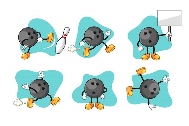 Bowling cartoon character set