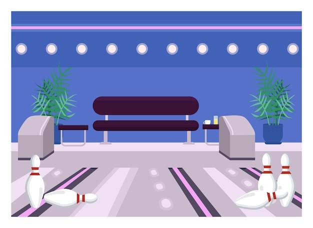 ボウリングセンターフラットカラー。遊ぶためのレーン。週末のエンターテインメントアリーナ。ピンを打つためのラウンジ。楽しいスポーツ活動。背景に椅子とゲームクラブ2d漫画のインテリア